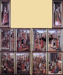 Maître de la légende de sainte Ursule: l'église et la synagogue. 1475-1482. Huile sur panneau de chêne, 47,5 x 30 cm (chaque panneau), 59 x 18,5 cm (volets). Bruges, Groninge Museum. (Histoire de l'art - Quattrocento