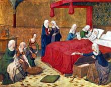 Maître de la Vie de Marie (actif de 1463 à 1480): la naissance de la Vierge. Vers 1470, huile sur bois, 85 x 109 cm. Munich, Alte Pinakothek. (Histoire de l'art - Quattrocento