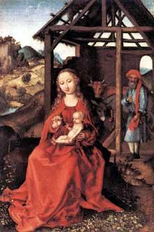 Martin Schongauer: la sainte famille. Vers 1470; bois, 26 x 17 cm. Munich, Alte Pinakothek.<br>(Histoire de l'art)