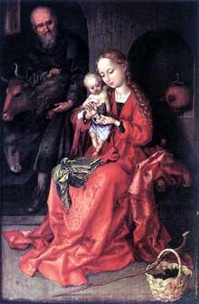 Martin Schongauer: la sainte famille 2. 1475-1480. Huile sur bois, 26 x 17 cm. Vienne, Kunsthistorisches Museum.<br>(Histoire de l'art)