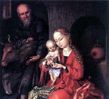 Martin Schongauer: la sainte famille 2, détail. 1475-1480. Huile sur bois, 26 x 17 cm. Vienne, Kunsthistorisches Museum.<br>(Histoire de l'art)