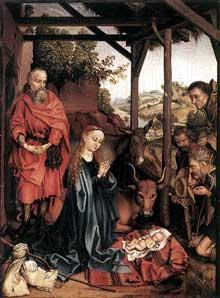 Martin Schongauer: nativité. Vers 1480. Panneau de chêne, 37,5 x 28 cm. Berlin, Staatliche Museen.<br>(Histoire de l'art)