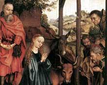 Martin Schongauer: nativité, détail. Vers 1480. Panneau de chêne, 37,5 x 28 cm. Berlin, Staatliche Museen.<br>(Histoire de l'art)