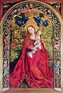 Martin Schongauer: la Vierge au buisson de roses. 1473. Tempera sur bois, 201 x 112 cm. Colmar, collégiale Saint-Martin. (Histoire de l'art)