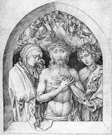 Martin Schongauer: le Christ mort avec la Vierge et saint Jean l'évangéliste. 1470-1475. Gravure sur cuivre, 223 x 157 mm. Vienne, Graphische Sammlung Albertina. (Histoire de l'art)