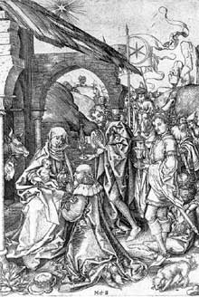 Martin Schongauer: l'adoration des mages. Vers 1475. Gravure sur cuivre, 256 x 168 mm. Berlin, Staatliche Museen. (Histoire de l'art)