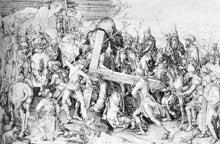 Martin Schongauer: le Christ portant sa croix. 1475-1480. Gravure, 288 x 430 mm, Paris, musée du Louvre. (Histoire de l'art)