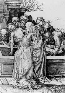 Martin Schongauer: mise au tombeau. Vers 1480. Gravure sur cuivre, 162 x 114 mm. Vienne, Graphische Sammlung Albertina. Cette gravure fait partie d'une série de 12 gravures dépeignant la passion du Christ.<br>(Histoire de l'art)