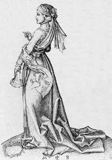 Martin Schongauer: la première vierge folle. Avant 1483. Gravure sur cuivre, 122 x 84 mm. Budapest, Musée des Beaux Arts.<br>(Histoire de l'art)