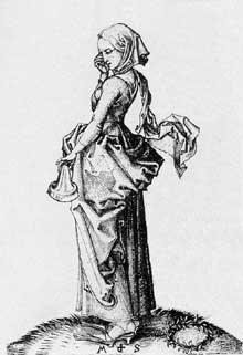 Martin Schongauer: la cinquième vierge folle. Avant 1483. Gravure sur cuivre, 116 x 83 mm. Budapest, Musée des Beaux Arts.<br>(Histoire de l'art)