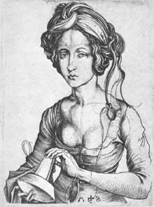 Martin Schongauer (1430-1491): une vierge folle. Gravure, 143 x 108 mm. Washington, National Gallery of Art. (Histoire de l'art - Quattrocento