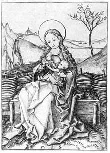 Martin Schongauer: Madone sur le gazon. Gravure sur cuivre, 12,2 x 8,4 cm.  Berlin Staatliche Museen.<br>(Histoire de l'art)