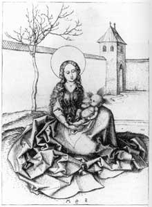 Martin Schongauer: Madone et enfant dans la cour. Vers 1480. Gravure, 166 x 119 mm. Berlin, Staatliche Museen.<br>(Histoire de l'art)