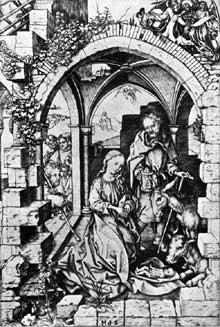 Martin Schongauer : Nativité. Vers 1470. Gravure, 257 x 171 mm. Washington, National Gallery of Art.]. (Histoire de l'art)