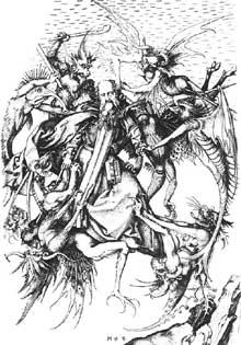 Martin Schongauer: La tentation de Saint Antoine. Gravure sur cuivre, 314 x 231 mm. Budapest, musée de Beaux Arts.<br>(Histoire de l'art)