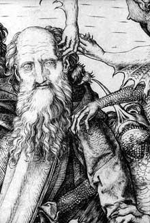 Martin Schongauer: La tentation de Saint Antoine, détail. Gravure sur cuivre, 314 x 231 mm. Budapest, musée de Beaux Arts.<br>(Histoire de l'art)