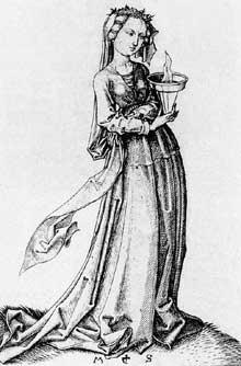Martin Schongauer: la quatrième vierge sage. Avant 1483. Gravure sur cuivre, 122 x 84 mm; Budapest, musée de Beaux Arts.<br>(Histoire de l'art)