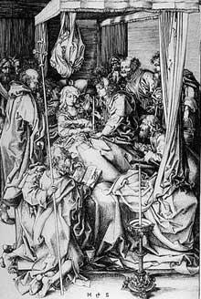 Martin Schongauer: la mort de la Vierge. Vers 1470. Gravure. Strasbourg. (PL 26; M 130). (Histoire de l'art)