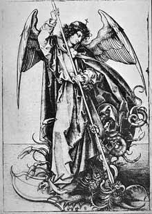 Martin Schongauer: l'archange Michel Michael terrasse Satan. Vers 1480-1490. Gravure. (Histoire de l'art)
