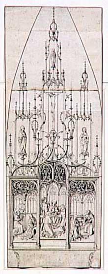 Martin Schongauer (attribué à): étude pour un retable d&rsquo;autel; scènes de l&rsquo;Annonciation, de l&rsquo;Adoration des Mages, de la Nativité; Crucifixion. Paris, musée du Louvre, collection Rothschild.<br>(Histoire de l'art)