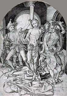 Martin Schongauer (1430-1491): flagellation, le Christ aux outrages. Vers 1475. Gravure sur bois, 16,2 x 11,5 cm. Colmar, Musée Unterlinden. (Histoire de l'art - Quattrocento