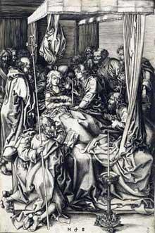 Martin Schongauer: la mort de la Vierge. 1470-1475. Gravure au burin, 25,2 x 16,6 cm. Chantilly, musée Condé. (Histoire de l'art)
