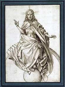Martin Schongauer: le Christ du Jugement dernier (d'après Rogier Van der Weyden). Encre brune, plume (dessin) 26 x 18,5 cm. Paris, musée du Louvre. (Histoire de l'art)