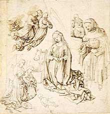 Martin Schongauer (école de): nativité : la Vierge et l'Enfant entourés d'anges. Dessin à l'encre brune, mine de plomb, plume, 21,8 x 21,1 cm. Paris, musée du Louvre. (Histoire de l'art)