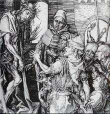 Martin Schongauer: Ecce homo. Gravure au burin sur cuivre, entre 1475 et 1480. Colmar, musée Unterlinden. (Histoire de l'art)