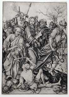 Martin Schongauer: l'arrestation du Christ. Gravure au burin sur cuivre, entre 1475 et 1480. Colmar, musée Unterlinden. (Histoire de l'art)