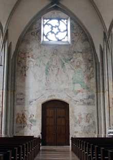 Martin Schongauer: fresque du Jugement dernier de l'église saint Etienne de Vieux Brisach sur le mur occidental: la scène principale du Jugement avec le Christ trônant. (Histoire de l'art)