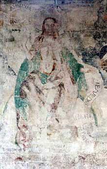 Martin Schongauer: fresque du Jugement dernier de l'église saint Etienne de Vieux Brisach. Le Christ du Jugement. (Histoire de l'art)