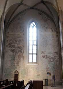 Martin Schongauer: fresque du Jugement dernier de l'église saint Etienne de Vieux Brisach. Mur sud de l'église: la procession des élus vers le Paradis. (Histoire de l'art)
