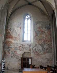 Martin Schongauer: fresque du Jugement dernier de l'église saint Etienne de Vieux Brisach. Mur nord de l'église: l'enfer des damnés.<br>(Histoire de l'art)
