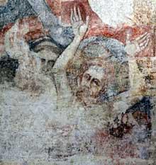 Martin Schongauer: fresque du Jugement dernier de l'église saint Etienne de Vieux Brisach. Mur nord de l'église: l'enfer des damnés: un moine.<br>(Histoire de l'art)