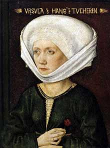 Michael Wolgemut (1434-1519): portrait d'Ursula Tucher. 1478, bois. Kassel, Staatliche Museen. (Histoire de l'art - Quattrocento