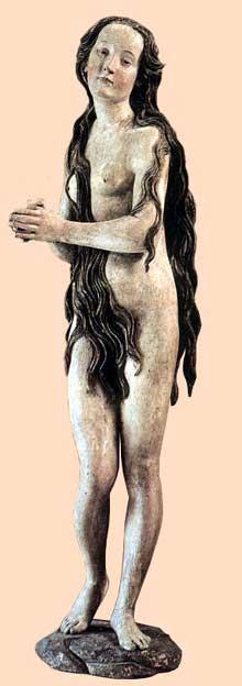Gregor Erhart (1479-1540): Marie Madeleine. Vers 1500. Bois polychrome. Paris, musée du Louvre. (Histoire de l'art - Quattrocento