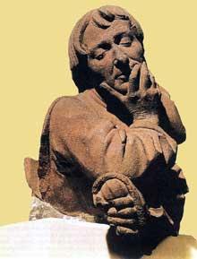 Nicolas Gerhaert de Leyde (actif entre 1462 et 1473): homme méditant. 1467; grès. Strasbourg, Musée de l'Oeuvre de Notre Dame