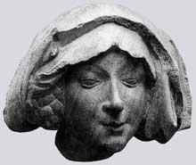 Nicolas Gerhaert de Leyde (actif entre 1462 et 1473): tête de femme; 1463-1464; grès rouge. Frankfort, maison Liebig. (Histoire de l'art - Quattrocento