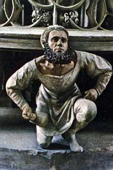 Adam Krafft (1460-1509): autoportrait. Détail du tabernacle. 1493-1496; grès partiellement peint. Eglise Saint Laurent de Nuremberg. (Histoire de l'art - Quattrocento