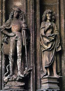 Hans Multscher (1400-1467): saint Georges et saint Jean l'évangéliste. Vers 1450. Pierre. Cathédrale d'Ulm. (Histoire de l'art - Quattrocento