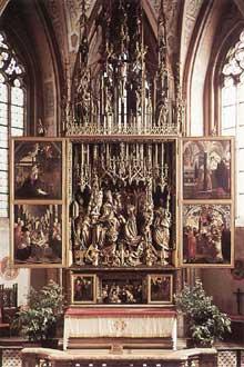 Michael Pacher (1435-1498): retable de Saint Wolfgang, vue d'ensemble. 1479-1481. (Histoire de l'art - Quattrocento