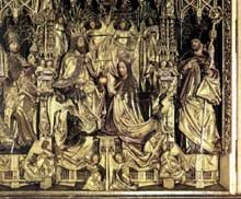 Michael Pacher (1435-1498): retable de Saint Wolfgang, détail: couronnement de la vierge. 1479-1481. (Histoire de l'art - Quattrocento