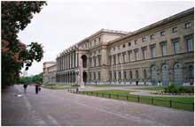 Munich: le château des Wittelsbach, «Residenz». Côté jardin