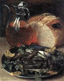 Georg Flegel: nature morte aux poissons. 1637. Huile sur bois, 19 x 15cm. Paris, musée du Louvre