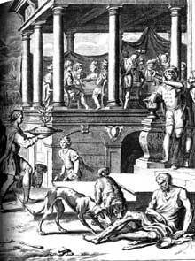 Matthias Scheits (1625-1700): le riche et le pauvre Lazare. Gravure pour la bible de Luther