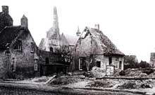 Faubourgs de Mulhouse bombardés par les Allemands, août 1914