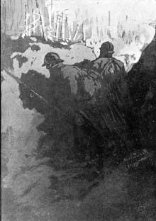 Tranchée à la Tête des Faux en 1915. Dessin de Herbert Ward