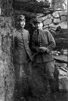 Deux combattants allemands au front du Linge