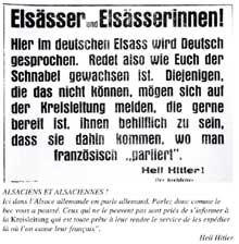 Affiche «invitant» les Alsaciens à parler «comme le bec leur a poussé…»
